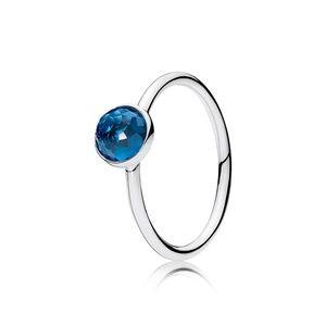 Pandora December Droplet Ring London Blue Crystal